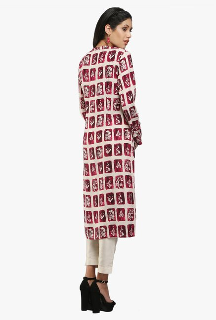 W Purple Printed Viscose Kurta