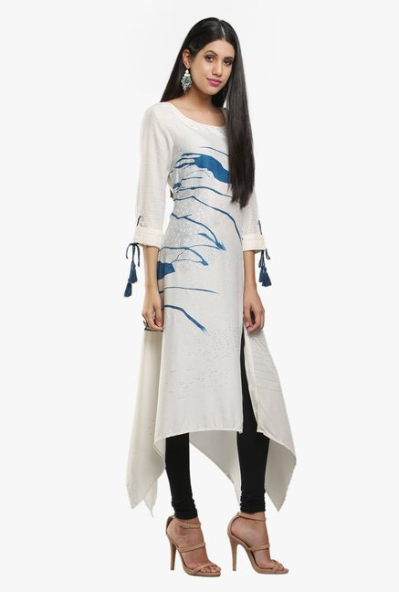 W White Printed Viscose Kurta