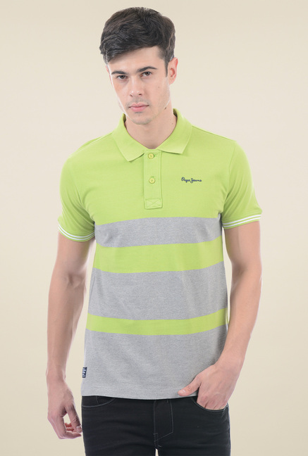 f98a83525a9 Buy Pepe Jeans Navy Green   Grey Striped Polo T-Shirt for Men ...