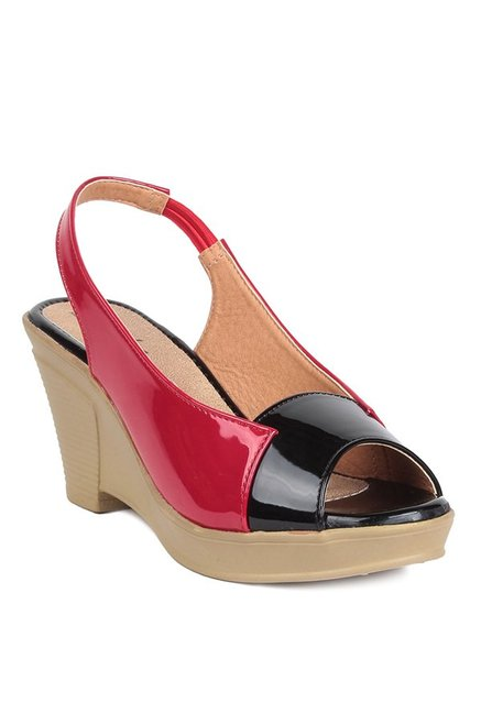 Lishabee by MSC Red & Black Sling Back Wedges