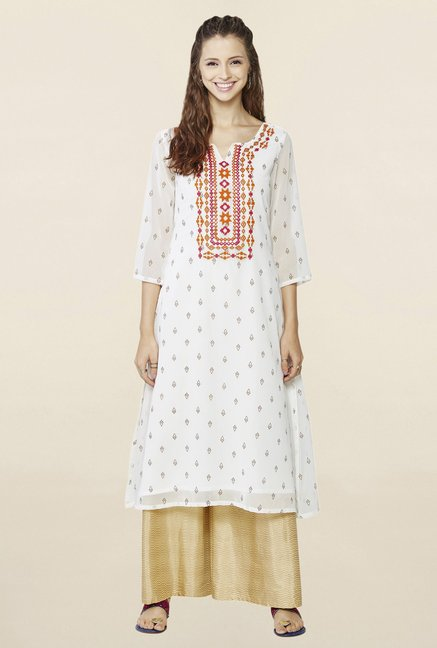 Global Desi Off White Embroidered Suit Set