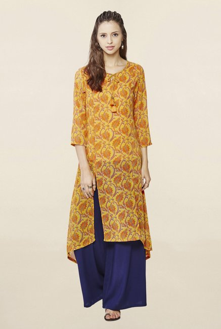 Global Desi Mustard Printed Kurta