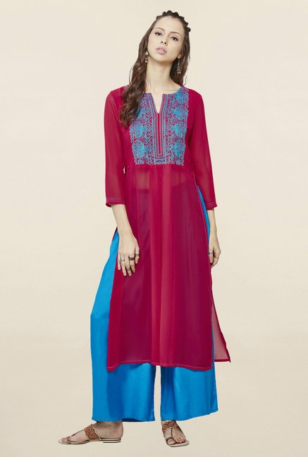 Global Desi Hot Pink Embroidered Suit Set