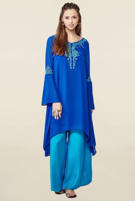 Global Desi Blue Embroidered Suit Set
