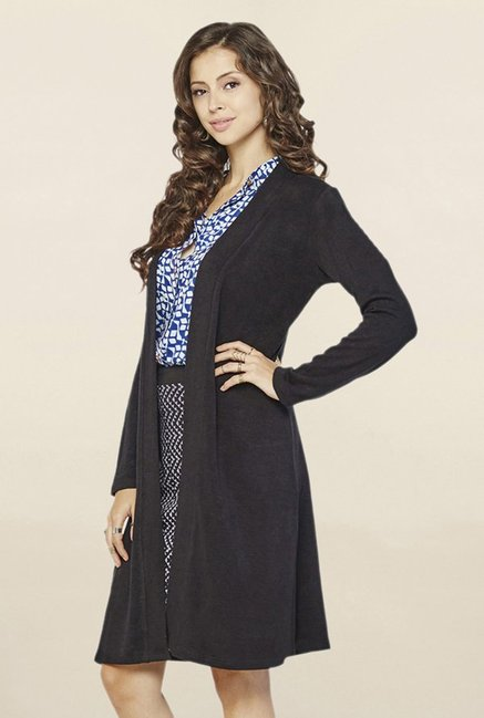 Global Desi Black Textured Long Shrug