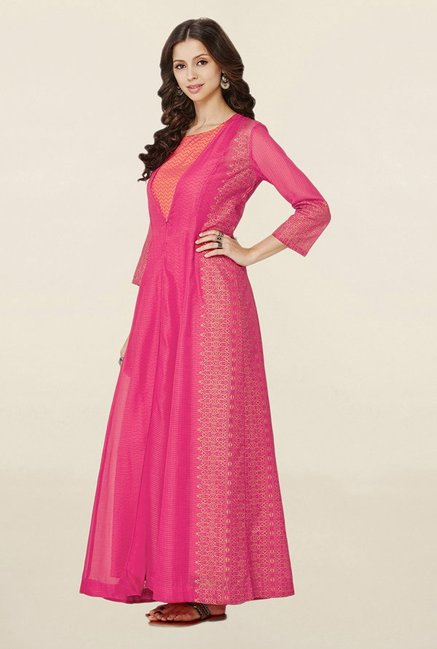 Global Desi Hot Pink Printed Suit Set