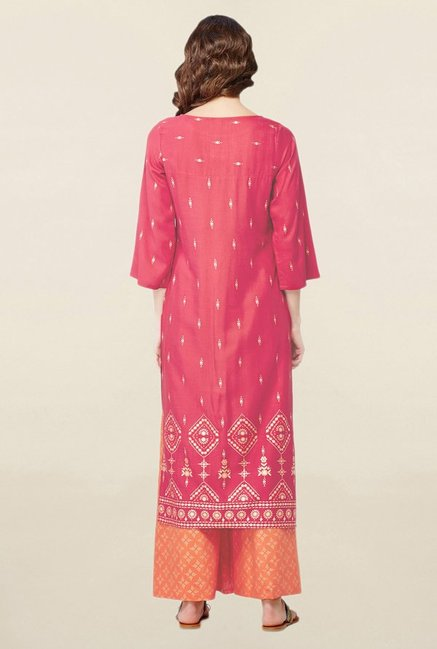 Global Desi Red Printed Suit Set