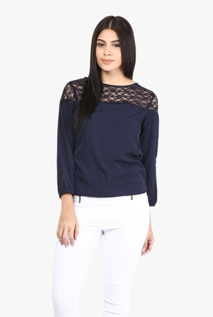 Mayra Navy Lace Top