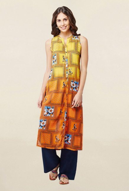 Global Desi Yellow & Orange Floral Print Kurta