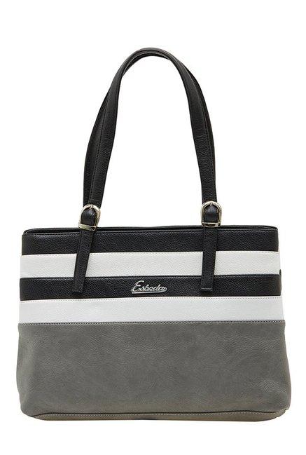 Esbeda Grey & Black Striped Shoulder Bag