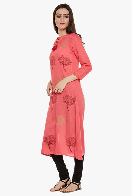9rasa Coral Block Print Cotton Viscose Kurta