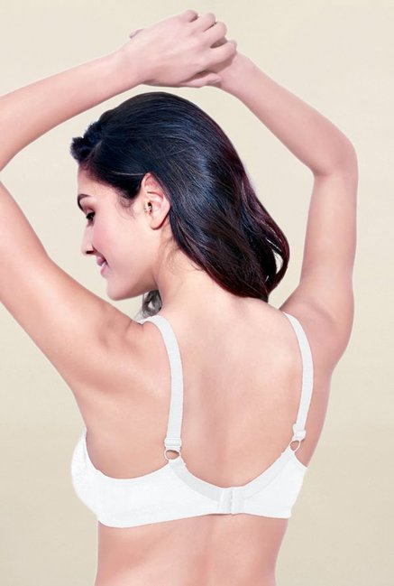 Enamor White Non Wired Non Padded Full Coverage Bra