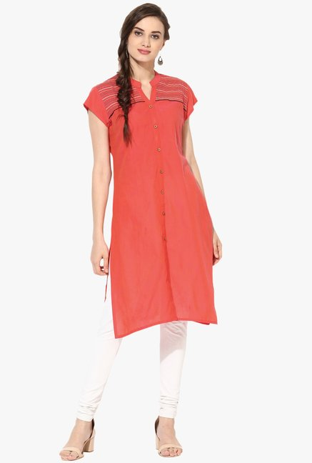 Mytri Coral Embroidered Cotton Kurta