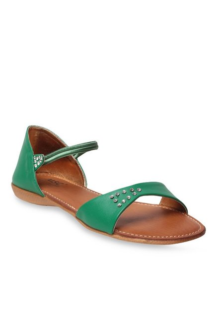 MSC Green Ankle Strap Sandals