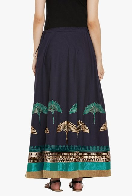 9rasa Navy Printed Maxi Skirt