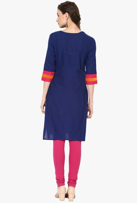 Mytri Navy Embroidered Cotton Kurta