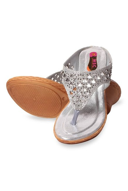 MSC Silver Thong Wedges