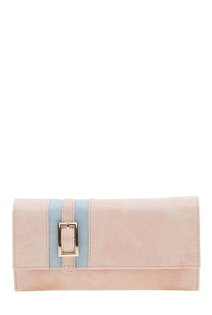 Esbeda Peach & Sky Blue Paneled Flap Wallet