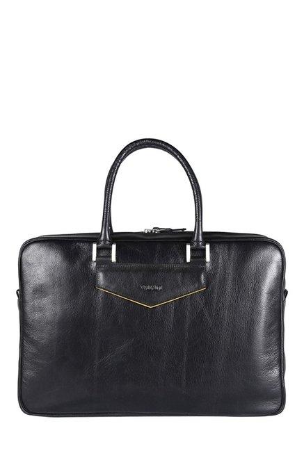 Viari Gekko Black Leather Laptop Messenger Bag