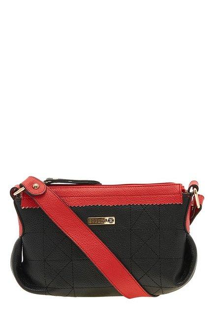 Esbeda Drymilk Black & Red Textured Handbag