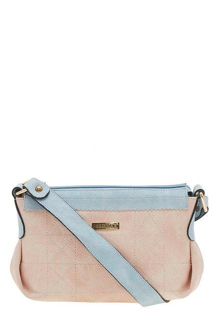 Esbeda Drymilk Peach & Sky Blue Textured Handbag