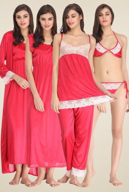 60f6daf1ffd Buy Clovia Pink Satin Nightwear Set for Women Online   Tata CLiQ