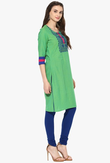 Mytri Green Embroidered Cotton Kurta