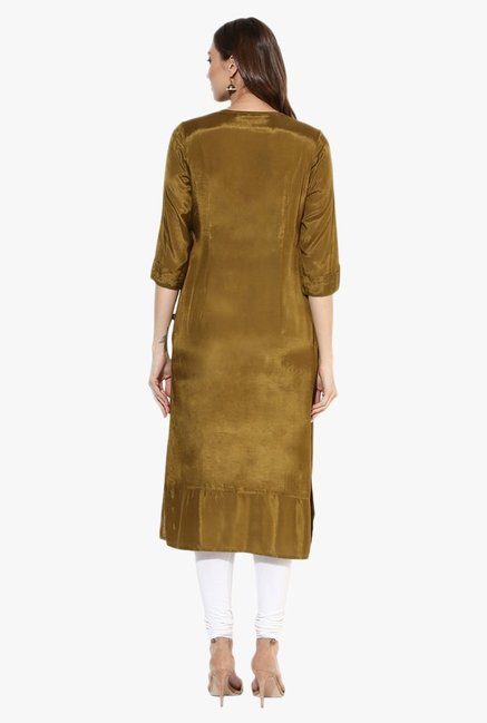 Juniper Olive Embroidered Viscose Kurta