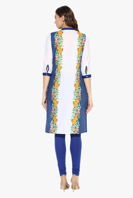 Juniper Blue & White Floral Print Cotton Kurta