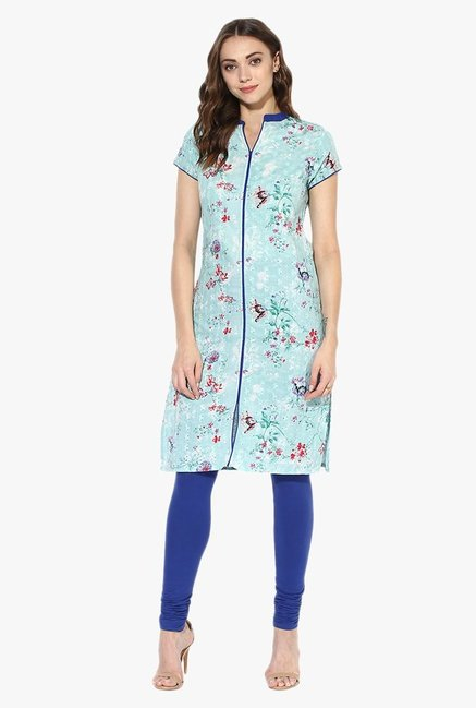 Juniper Mint Floral Print Cotton Kurta