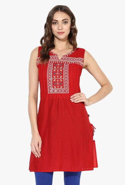 Juniper Red Embroidered Cotton Kurti