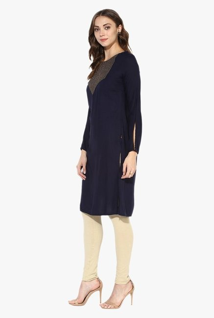 Juniper Navy Embroidered Rayon Kurta