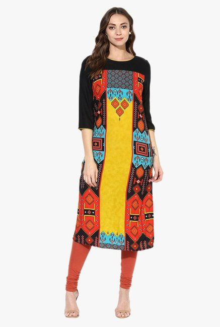 Juniper Black Printed Rayon Kurta