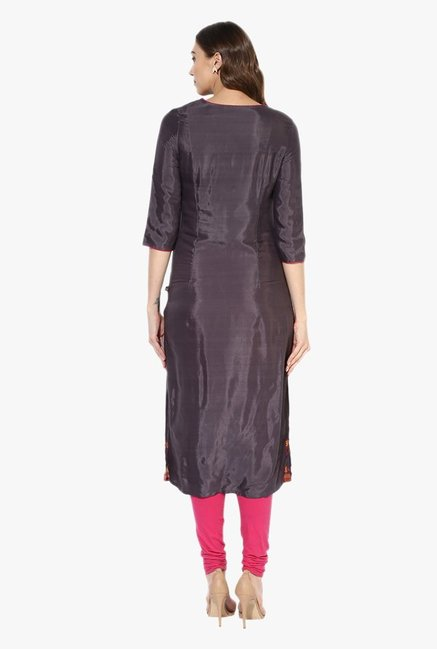 Juniper Grey Printed Viscose Kurta