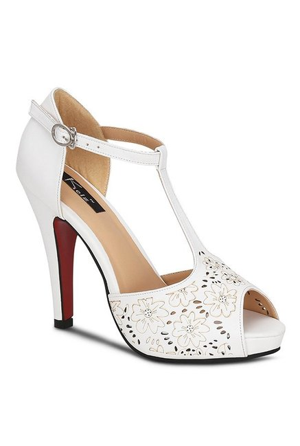 5afbbb2e37eb Buy Kielz White T-Strap Stilettos for Women at Best Price   Tata CLiQ
