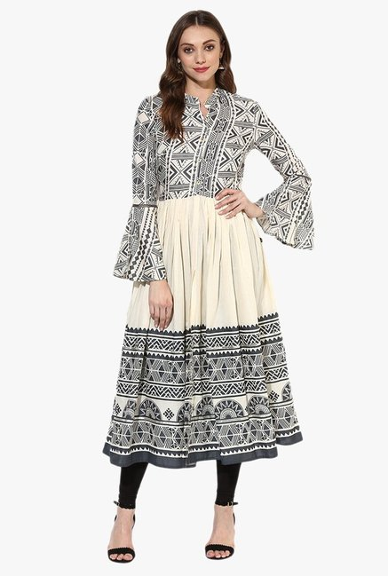 Juniper Grey & Off White Printed Rayon Kurta