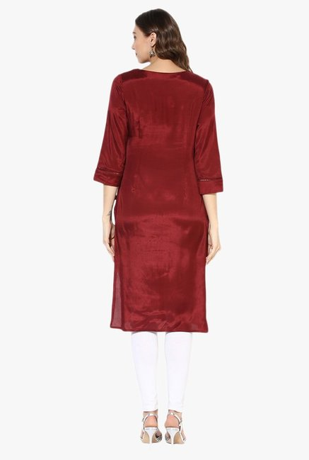 Juniper Maroon Embroidered Rayon Kurta