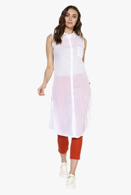 Juniper White Sleeveless Cotton Kurta