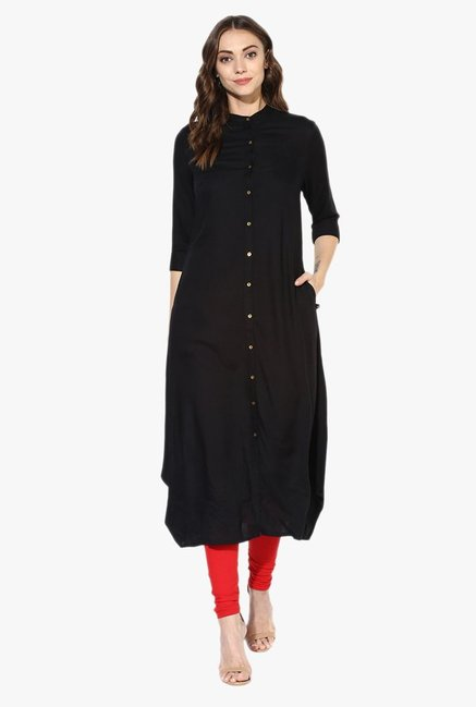 Juniper Black Band Neck Rayon Kurta