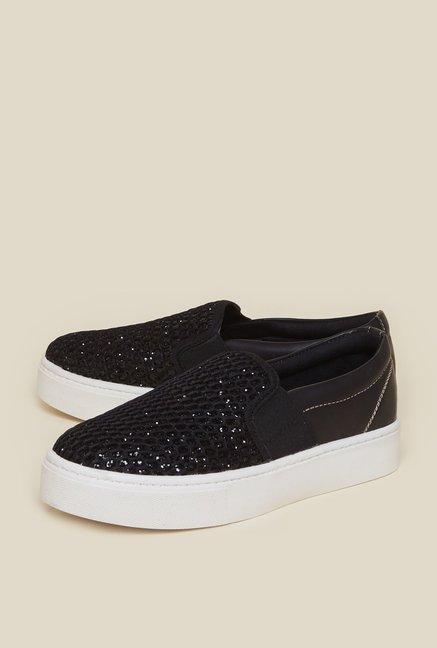 aa6bcf5fa9cb Buy Zudio Black Glitter Plimsolls For Women Online At Tata CLiQ