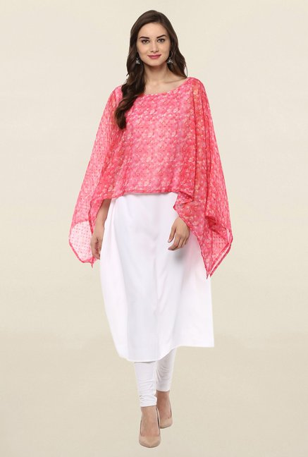 Ahalyaa White & Pink Printed Crepe Dupatta Style Cape