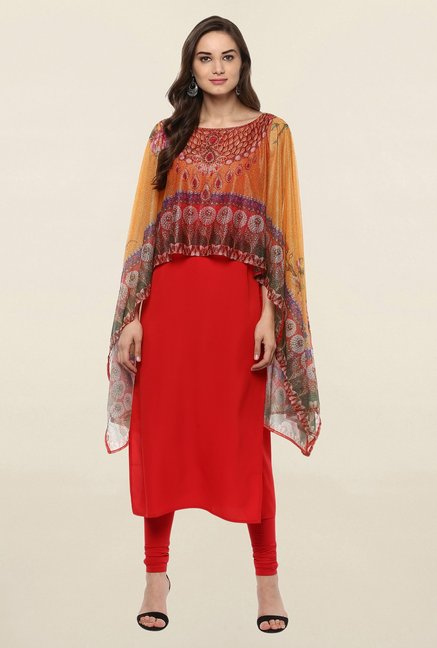 Ahalyaa Red Printed Crepe Dupatta Style Cape