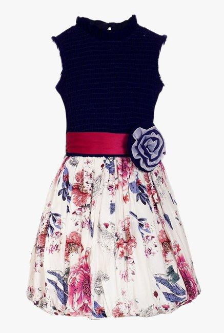 709d6e62 Buy Naughty Ninos Navy & Beige Printed Dress for Girls Clothing Online @  Tata CLiQ