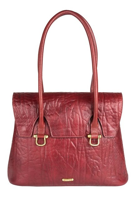Hidesign Cera 03 Dark Red Textured Laptop Shoulder Bag