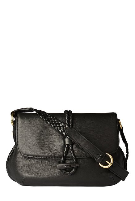 6bc70a54299 Buy Hidesign Sevruga Black Leather Sling Bag For Women At Best Price   Tata  CLiQ
