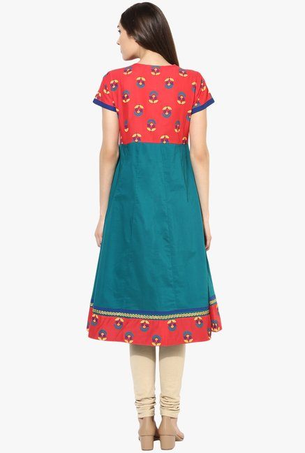 Mytri Teal & Red Printed Anarkali Kurta