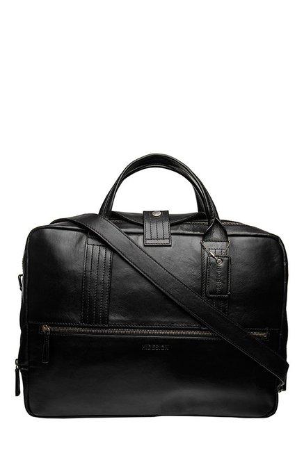 Hidesign I Bag AL01 Black Leather Laptop Messenger Bag