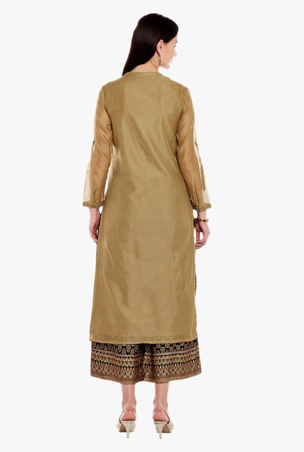 Varanga Olive Embroidered Silk Kurta