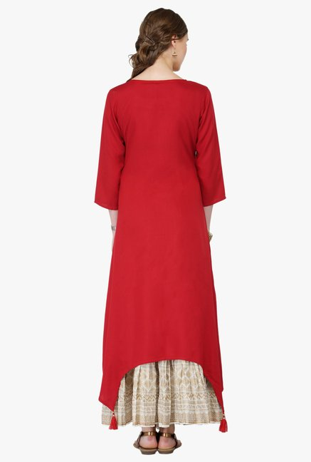 Varanga Red & White Embroidered Rayon Kurta With Palazzo