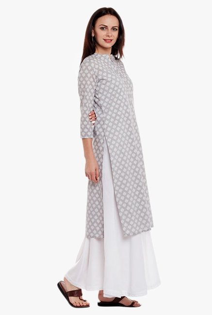 Varanga Grey & White Printed Cotton Kurta With Palazzo